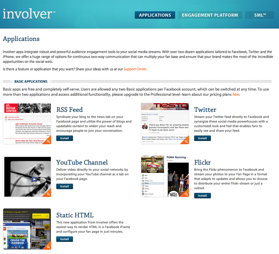 FREE Facebook landing page creation tool, Involver