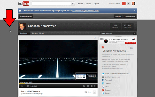 Customize your YouTube background image