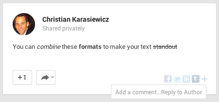 Format Google+ posts - combined