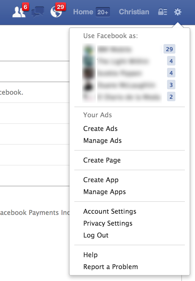 Facebook Account Settings menu